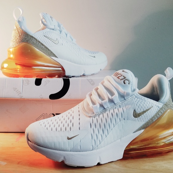 Nike Air Max 270 White/Gold Womens 7.5